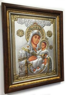 Madonna and Child Christ Silver Russian Orthodox Icon with Faux Pearls 25 Inches