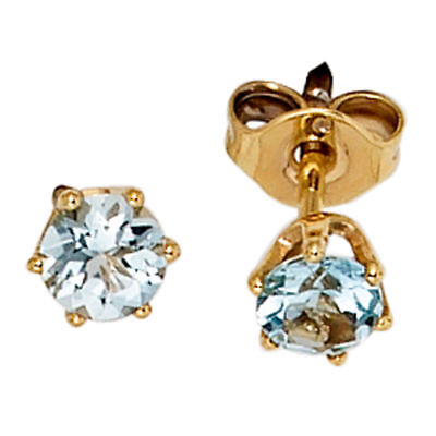 Earrings Stud with Aquamarine Light Blue 4,4mm & 585 Gold Yellow Gold Ladies