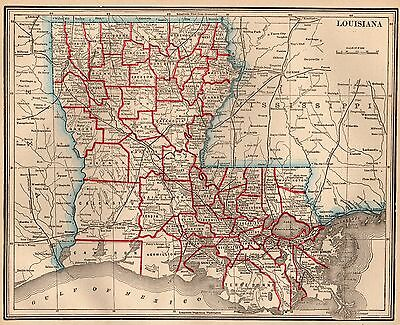 1893 Antique LOUISIANA Map Vintage State Map of LOUISIANA #2922