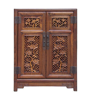 Chinese Relief Panel Floral Carving Side Table Cabinet cs1513
