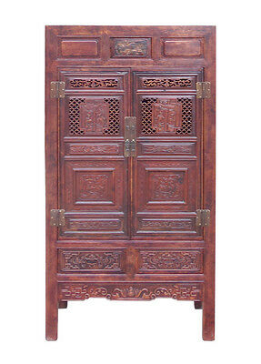 Chinese Distressed Brown Scenery Carving Armoire Cabinet cs1516