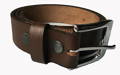 New Mens Brown Detachable Buckle Top Grain Genuine Leather Belt
