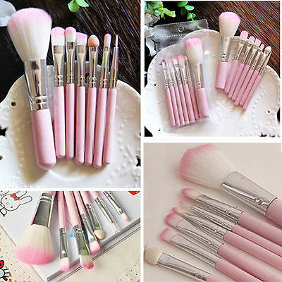7PCS Wood Make up Brushes Kit Professional Cosmetic Makeup Brush Set Pink Tool