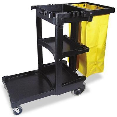 Rubbermaid Commercial 617388BK Multi-Shelf Cleaning Cart, Three-Shelf, 20w x 45d