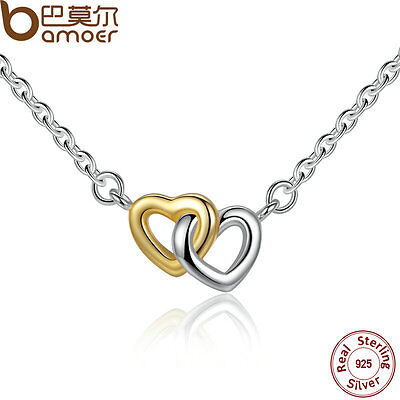 Bamoer Solid S925 Sterling Silver Double love Heart Necklace For women Jewelry