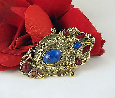 Vintage Blue & Burgundy Cabochons Gold tone Pin  Brooch FERAL  CAT RESCUE