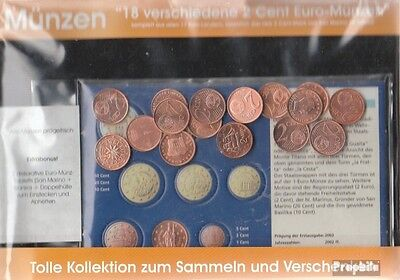 Europe 18 different uncirculated 2 cent Euro-Coins out 18 different Countries