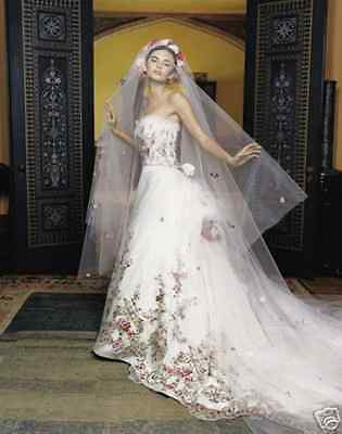 Embroidered Wedding Dress.Lazaro 3119 Wedding Dress Hand Embroidered Floral Embroidery Gown And Veil