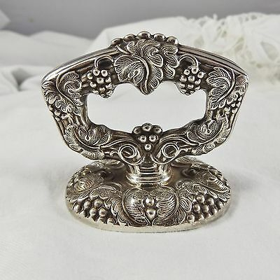 Victorian Ornate Etched Carved Grapes & Leaves Silverplate  Drawer Pull Handle