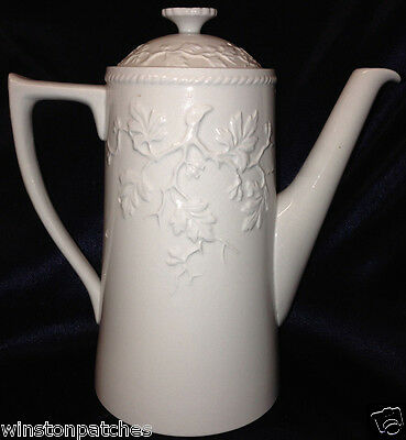 Spode Henry Iv Coffee Pot 42 Oz Light Blue Embossed Branches & Leaves Alenite