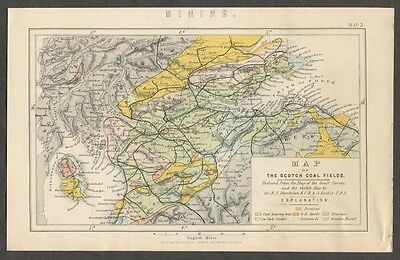 c1885 Antique Map of Coal Fields of Scotland Coal Mining Coal Mines