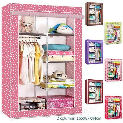 Clothes Closet with Rail Home Cupboard Bedroom Portable Double Canvas Wardrobe