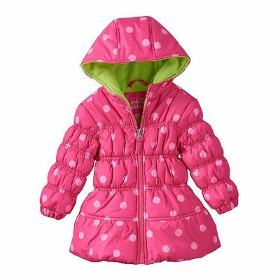 NEW Girls 12M Baby Child PINK PLATINUM POLKA DOTS Hooded Puffer Jacket Coat
