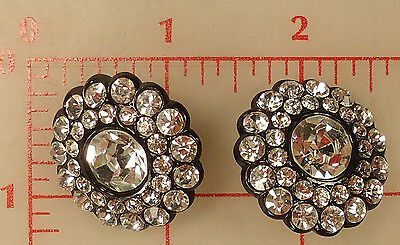 2 Czech thin black metal buttons covered in large & smaller rhinestones 30mm 272