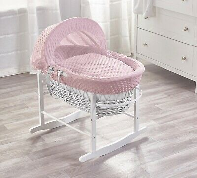Pink Dimple White Wicker Moses Basket on Deluxe White Rocking Stand