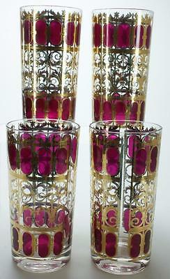 Four Flat Tumblers in Cranberry Scroll by Culver Mid Century Era DH26