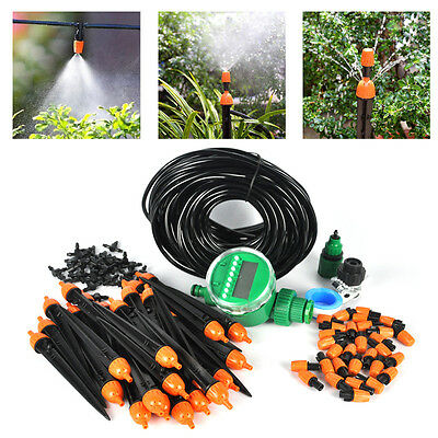 15~25m DIY/Auto Micro Drip Irrigation kit Garden Greenhouse Self Watering Hose