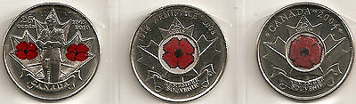"2004-2008-2010  25 Cent Canadian/canada Coins All Unc ""poppy"" Coins"