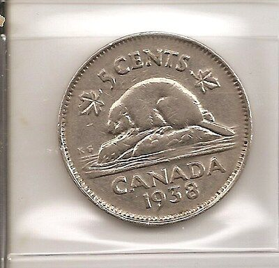 Scarce 1938 Canada/Canadia​n 5 Cent Coin (Nickel)