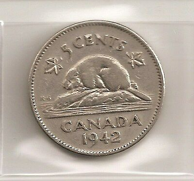 Scarce 1942 Canadian/canada 5 Cent Coin (Nickel)
