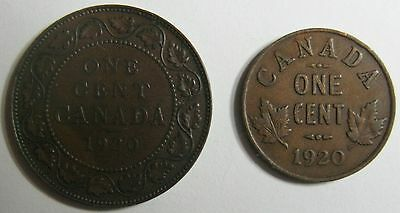 Both 1920 Canada/canadian Large And Small Scarce 1 Cent Coins