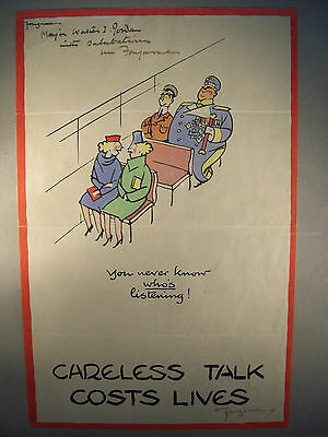 "Five Fougasse ""careless Talk Costs Lives"" Wwii Posters, One Signed"