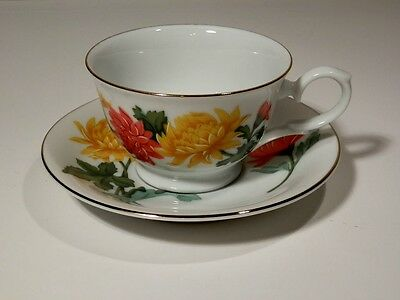 Avon November Chrysanthemum Blossoms Of The Month Cup And Saucer Mint 1991