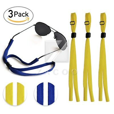 3pcs 21''polyester Blue/Yellow Glasses Strap Chain Cord Holder Band Neck Lanyard