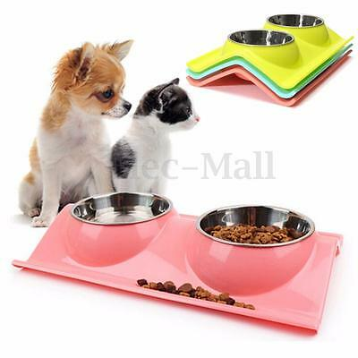 Splashproof Double Pet Bowl Stainless Steel Dog Cat Puppy Feeder Food Water Dish