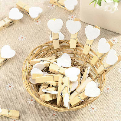 New  Wooden White Heart Pegs Photo Paper Clips Wedding Decor Craft Gifts 10/20Pc