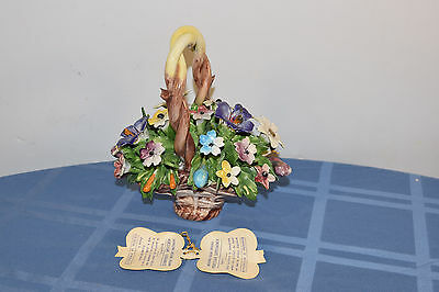 """LARGE Vintage Capodimonte Porcelain Flowers In Basket w Tag 7""""x6"""" Italy"""