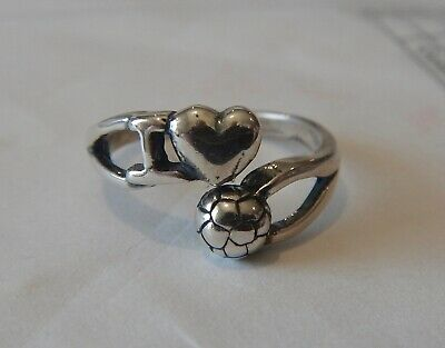size 6-7 Sterling Silver Adjustable I Love Soccer with 6 mm Ball Ring