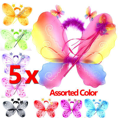 3Pc Set Fairy Princess Elegant Girl Costume Wings Wand Butterfly Party (MIXED)