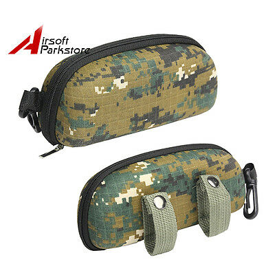 Tactical MOLLE Shockproof Glasses Sunglasses Box Outdoor Case Digital Woodland