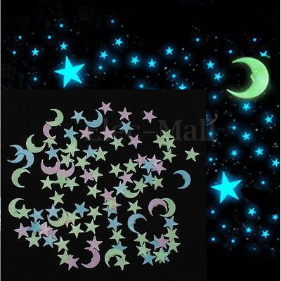 100pcs 3D Glow In The Dark Light Facny Blue Stars Wall Stickers Eco Friendly PVC