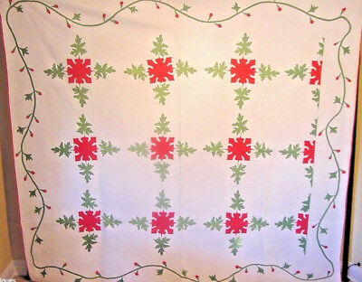 Masterpiece Antique Red And  Green  Applique Quilt