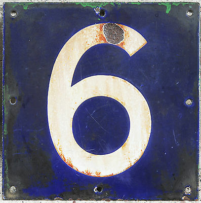Giant old French house number 6 or 9 door gate plate plaque enamel steel sign