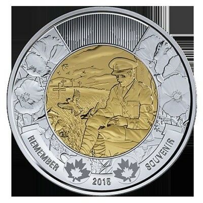 2015  $2 POPPY COIN  - FLANDERS FIELD REMEMBRANCE DAY (Proof Like From Set)