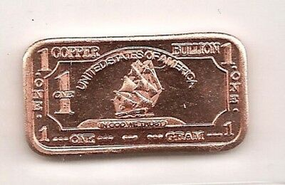 BULLION - Mini - 1 Gram .999 Copper - Ship