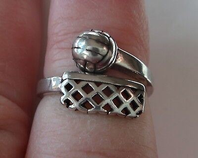 size 7-8 Adjustable Sterling Silver Volleyball and Net on Ring