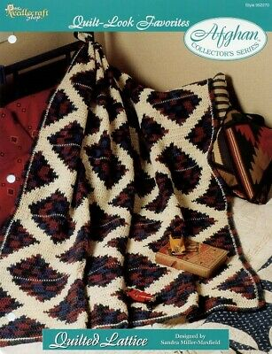 Geometric Reflections Afghan TNS Quilt Look NEW Crochet Pattern//Instructions