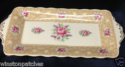 Royal Albert Devonshire Lace Tray For Sugar Bowl & Creamer Gold Trim Pink Roses