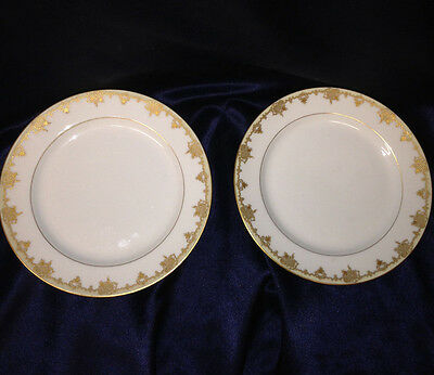 """Bawo & Dotter 2 Salad Plates 7.5"""" Gold Encrusted With Lattice Insets Verge Cream"""