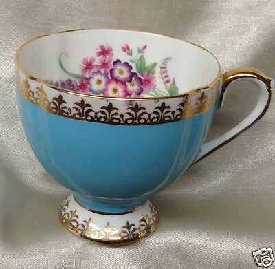 Taylor & Kent Turquoise Blue Footed Cup Pink Violet & Blue Flowers Gold Filigree