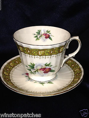 Duchess Fine Bone China England Diplomat Footed Cup & Saucer 8 Oz Floral