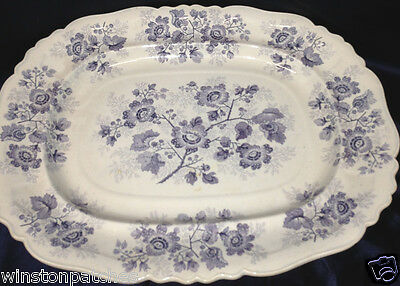 "Ridgway & Morley England Nonpareil Blue Floral 17 1/4"" Oval Serving Platter"