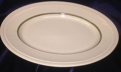 """Syracuse Staffordshire 13 7/8"""" Oval Platter With Gold Verge Fluted Rim Cream"""