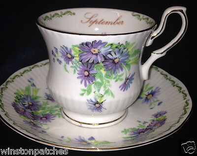 Queen's Fine Bone China Flower Of The Month September Footed Cup & Saucer