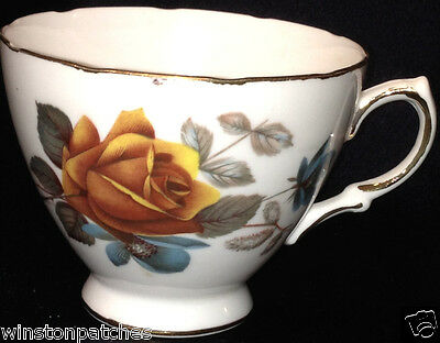 Ridgway Royal Vale 8215 Footed Cup Yellow Roses & Blue Flowers Gold Trim