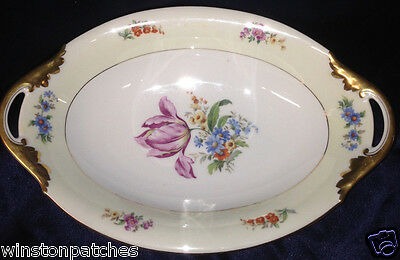 "Bohemia Ceramic 2308 12"" Oval Vegetable Bowl Flowers Cecil Tulip Cream & White"